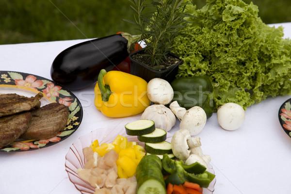 Stockfoto: Grill · tijd · barbecue · tuin · voedsel · partij