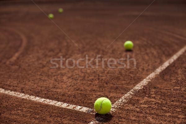 Tennisbal lijn hoek rechter sport veld Stockfoto © BrunoWeltmann