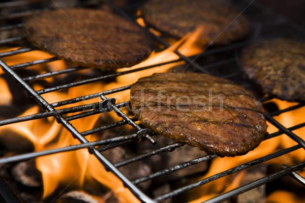 Frito carne preto cozinhar chama Foto stock © BrunoWeltmann