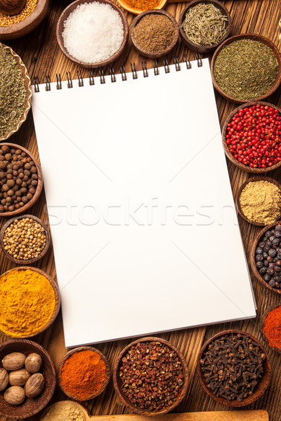 Great cookbook and spices Stock photo © BrunoWeltmann