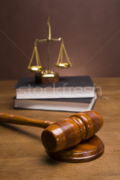 прав Весы правосудия домой фон молота Сток-фото © BrunoWeltmann