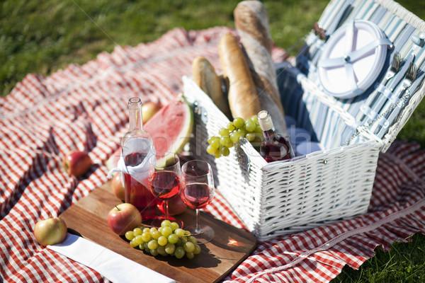 пикника время свежих продуктов корзины саду весны Сток-фото © BrunoWeltmann