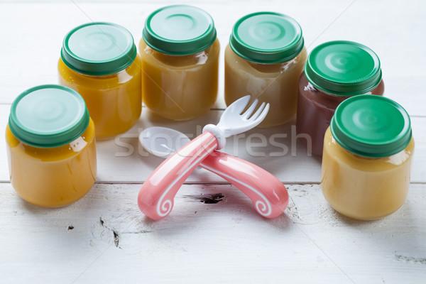 健康 離乳食 木製のテーブル 食品 赤ちゃん フルーツ ストックフォト © BrunoWeltmann