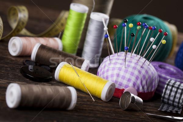 Sewing instruments, threads, needles, bobbins and materials. Stock photo © BrunoWeltmann