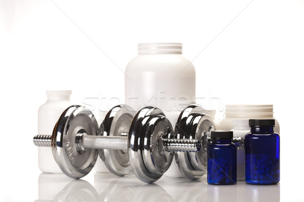 Stock fotó: Fitnessz · kiegészítők · sport · kiegészítő · izolált · fehér
