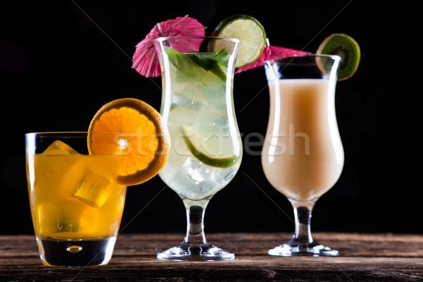Mojito zwarte drinken vruchten water oranje Stockfoto © BrunoWeltmann