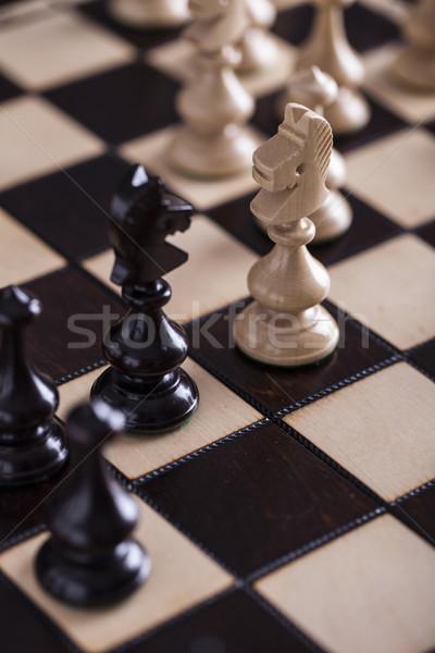 チェス 白 対 黒 木製 チェスボード ストックフォト © BrunoWeltmann
