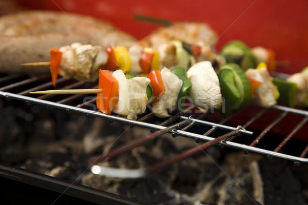 Grill idő barbecue kert étel buli Stock fotó © BrunoWeltmann