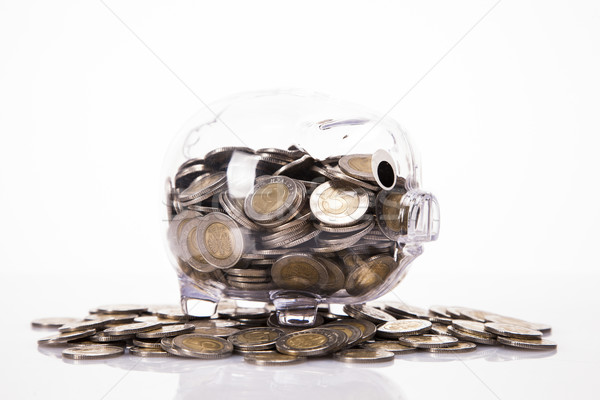 Stock photo: Savings in piggy bank! A lot of money!