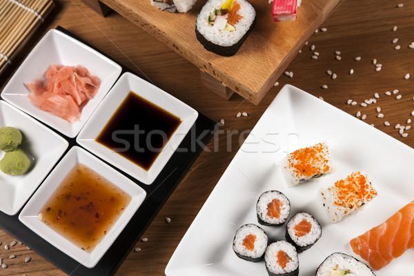 Lezzetli taze sushi varyasyon lezzetli gıda Stok fotoğraf © BrunoWeltmann