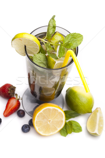 Perfect Mojito drink on white background Stock photo © BrunoWeltmann