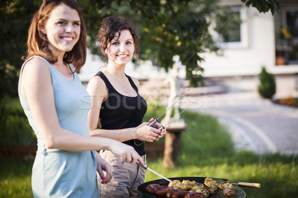 2 かなり 女の子 食品 グリル ストックフォト © BrunoWeltmann