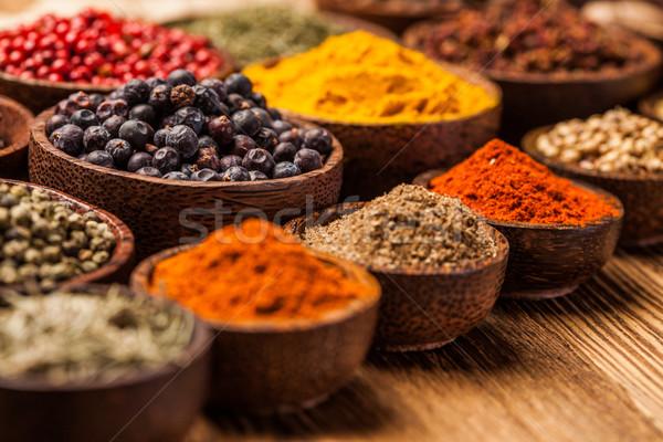 Baharatlar renkli ahşap masa çanaklar gıda Stok fotoğraf © BrunoWeltmann