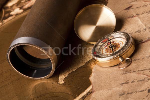 Navegação equipamento velho papel mundo fundo Foto stock © BrunoWeltmann