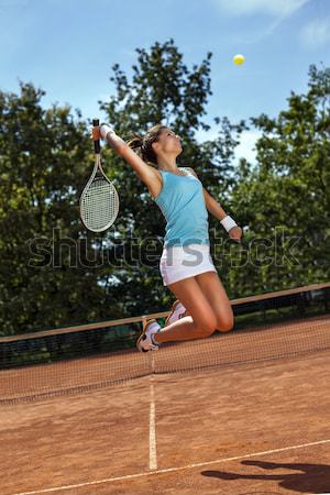 Foto stock: Jovem · jogar · tênis · belo · tempo · bastante