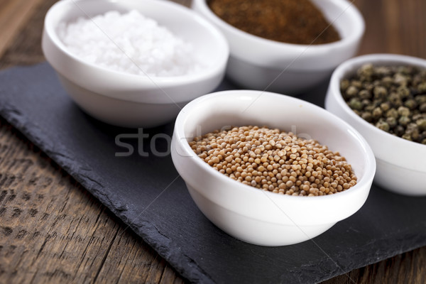 Aromatic spices in white bowls Stock photo © BrunoWeltmann