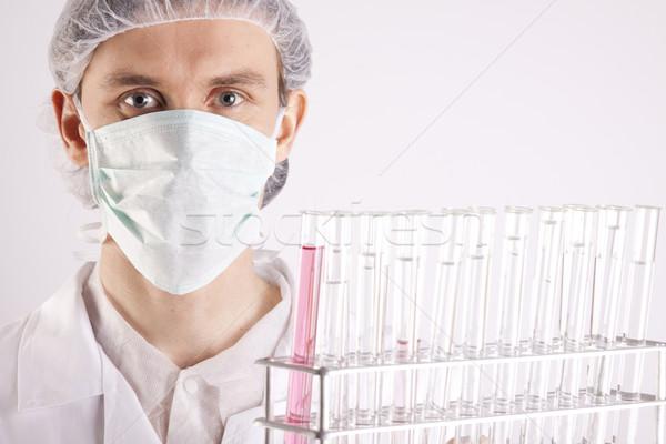 Foto stock: Cientista · sorrir · cara · médico · médico · tecnologia