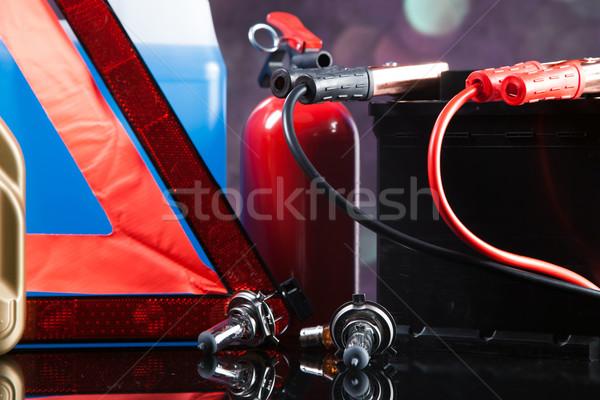 Esencial elementos coche trabajo grupo herramientas Foto stock © BrunoWeltmann