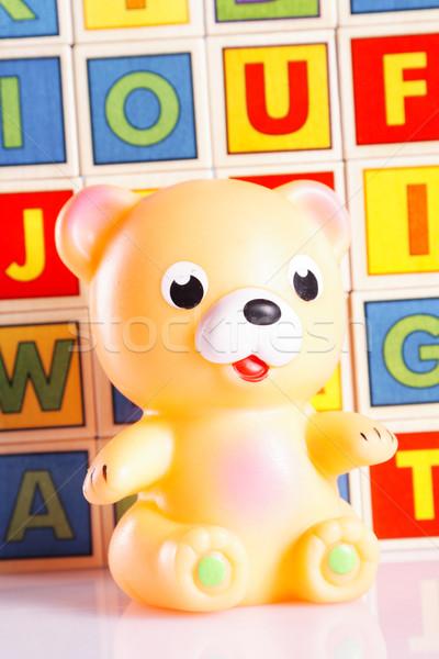 Baby speelgoed tabel baby achtergrond leuk Stockfoto © BrunoWeltmann