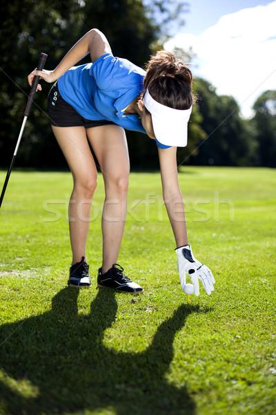 Сток-фото: набор · мяч · для · гольфа · девушки · улыбка · спорт