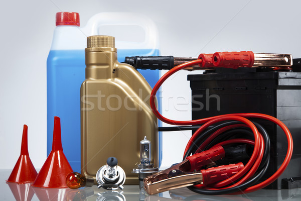 Essential elements in any car. Isolated on white Stock photo © BrunoWeltmann