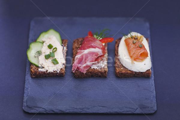 Lezzetli küçük sandviçler ton balığı peynir prosciutto Stok fotoğraf © BrunoWeltmann