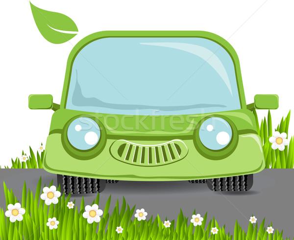 Verde carro abstrato ilustração flores grama Foto stock © brux