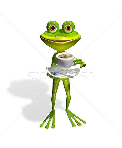 frog with a cup of coffee Stock photo © brux