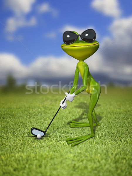 Illustration frog golfer on a green lawn Stock photo © brux