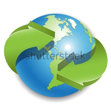 мира зеленый Стрелки иллюстрация аннотация синий Сток-фото © brux