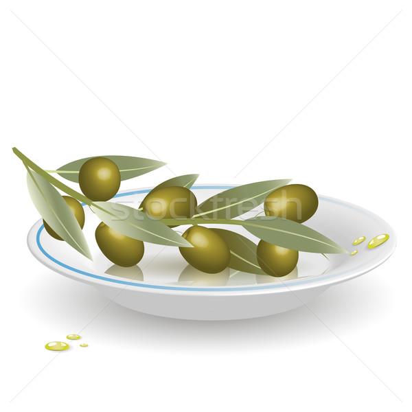 Zeytin fincan tabağı örnek şube zeytin beyaz Stok fotoğraf © brux