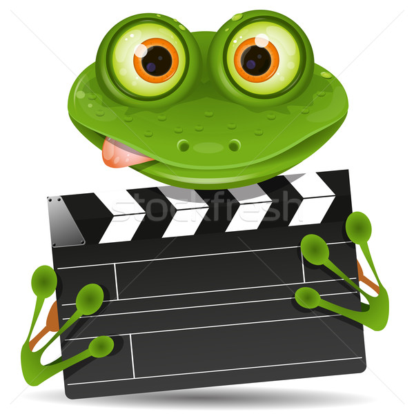 Frog with movie clapper Stock photo © brux