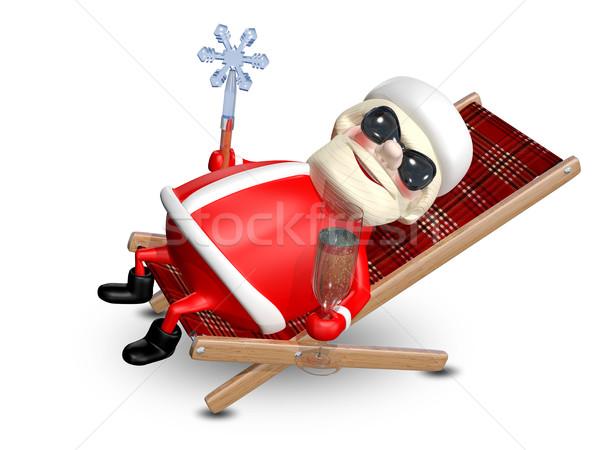 3d иллюстрации Дед Мороз шезлонг стекла шампанского улыбка Сток-фото © brux