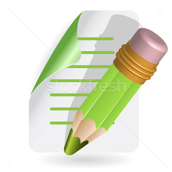 Crayon illustration vert fiche papier bureau Photo stock © brux