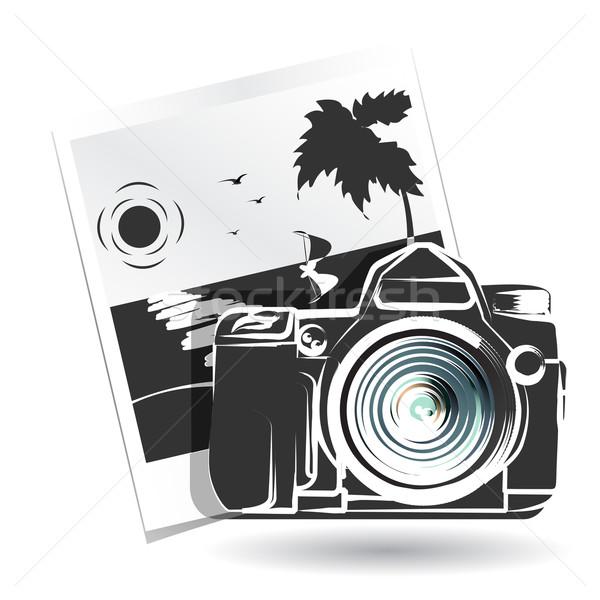 фото иллюстрация камеры пейзаж свет черный Сток-фото © brux