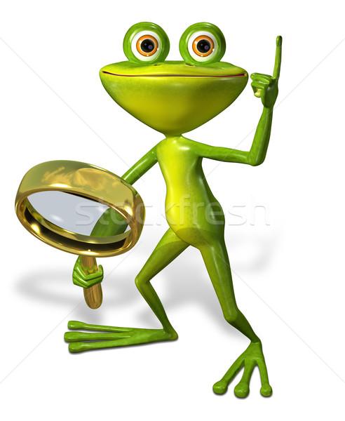 Сток-фото: зеленый · лягушка · увеличительного · 3d · иллюстрации · веселый · улыбка