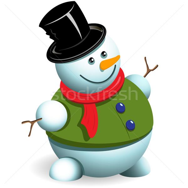 雪だるま 実例 新しい 年 帽子 白 ストックフォト © brux