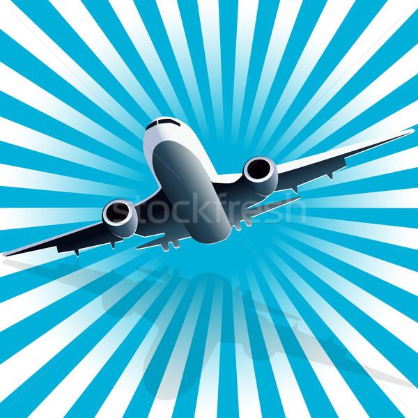 Repülőgép illusztráció kék térkép természet utazás Stock fotó © brux
