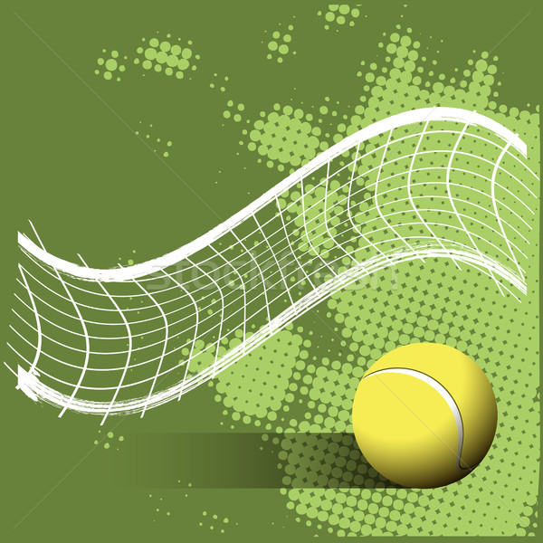 Tennis Ball and Grid on a Green Background Stock photo © brux