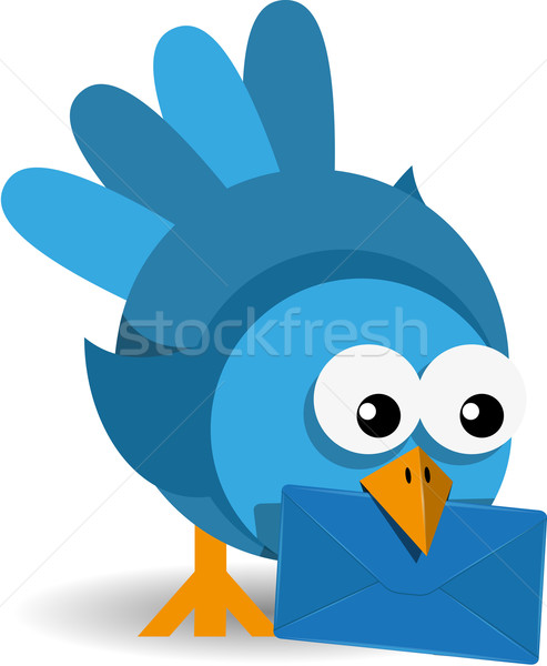 blue bird with a blue envelope Stock photo © brux