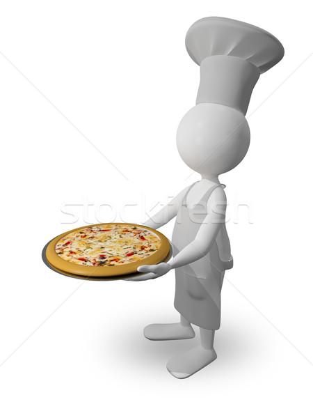 Chef pizza abstract illustrazione vassoio alimentare Foto d'archivio © brux