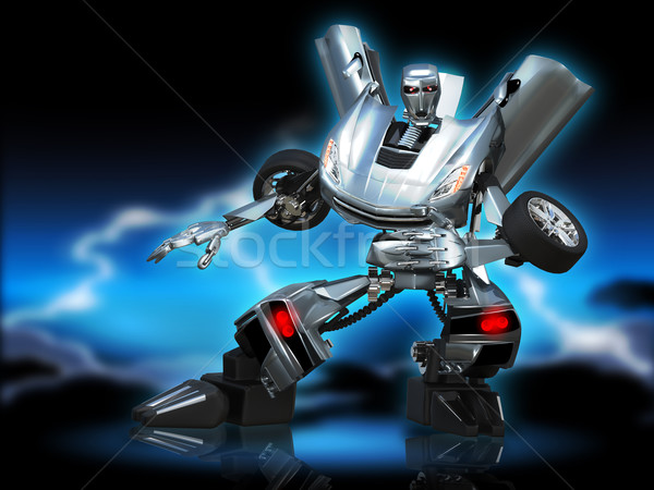Robô transformador ilustração abstrato metal carro Foto stock © brux