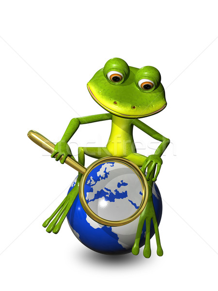 frog on a globe with a magnifying glass Stock photo © brux