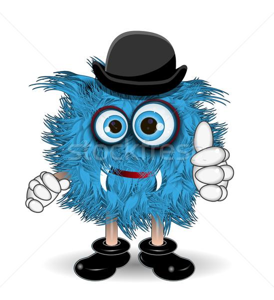 Blau Monster hat Illustration schwarz Lächeln Stock foto © brux