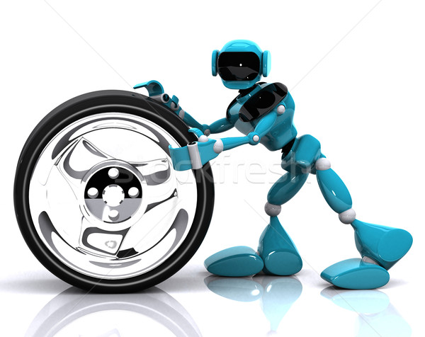 Robot wiel 3d illustration Blauw witte technologie Stockfoto © brux