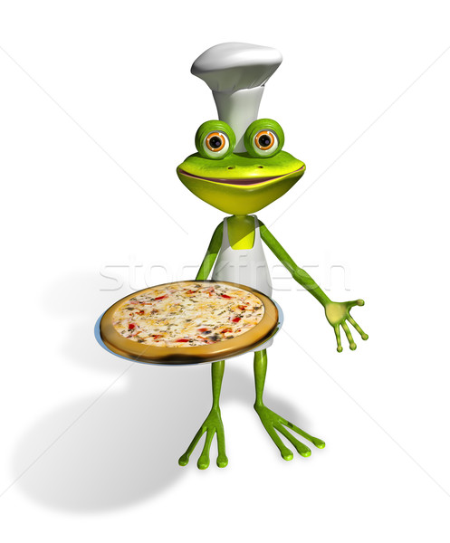 frog chef with pizza Stock photo © brux