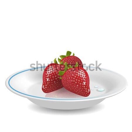 клубника блюдце иллюстрация красный белый синий Сток-фото © brux