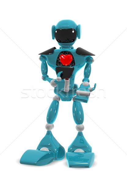 Stok fotoğraf: Robot · kalp · 3d · illustration · bilgisayar · Metal · mavi