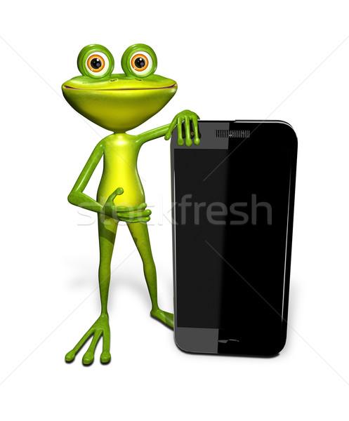 Grenouille smartphone résumé illustration vert technologie Photo stock © brux