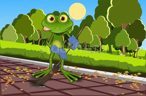 Stock photo: Frog sweeping track